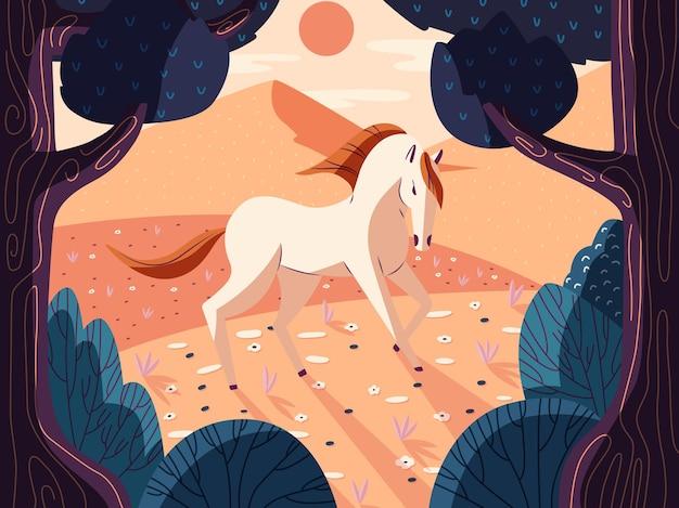自然の中でカラフルな美しい馬。