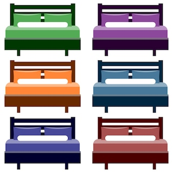 Colorful bed element icon game asset flat illustration