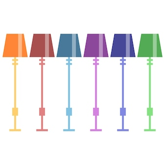 Colorful bed lamps are unique and attractive element icon game asset flat illustration