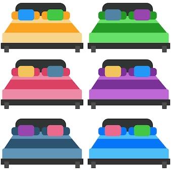 カラフルなベッド、マットレス、枕、ボルスター、ベッドリネンエレメントのアイコンゲームアセット