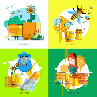 Colorful beekeeping concept