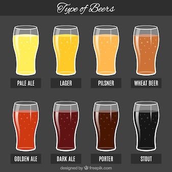 Colorful beers with their names