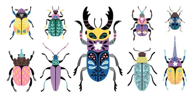 다채로운 딱정벌레. 귀여운 작은 버그의 만화 매크로 이미지, 곤충학 과학의 생물 세트, 흰색 배경에 고립 된 곤충 아이콘의 벡터 일러스트 레이 션