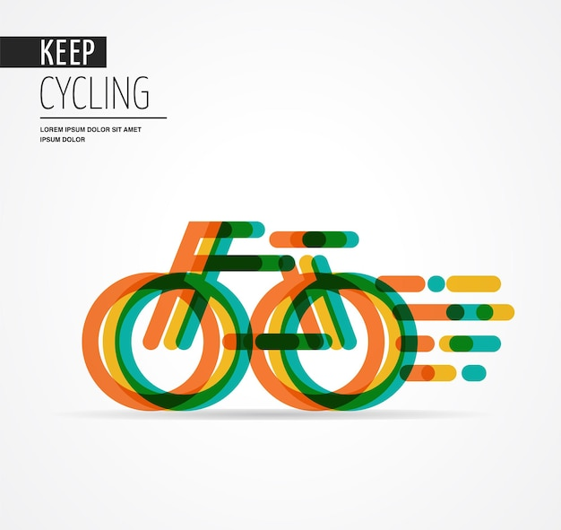 Colorful bicycle icon and symbol