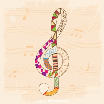 Colorful big music clef