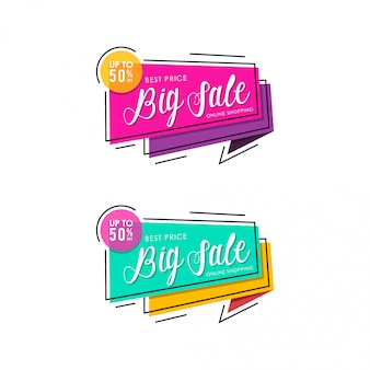 Colorful big sale banner template design. online shopping pink and green.