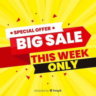 Colorful big sale composition with flat design
