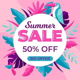 Colorful big summer sale with leaves and bird