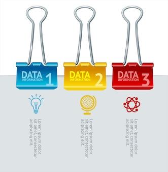 Colorful binder clip option banner for business, finance