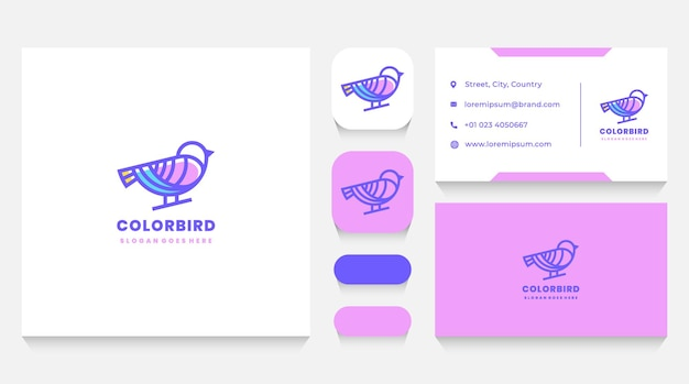 Colorful bird linear logo template and business card