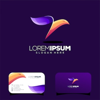 Colorful bird logo design and business card template