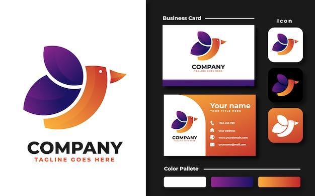 Красочный шаблон логотипа птицы и визитная карточка