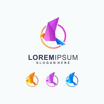 Шаблон логотипа красочные птицы