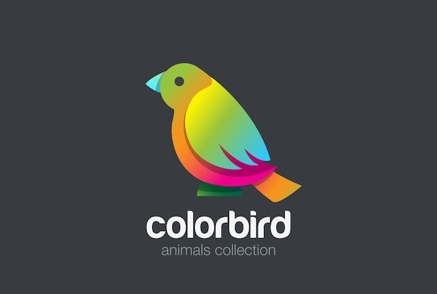 Colorful bird sitting abstract logo .