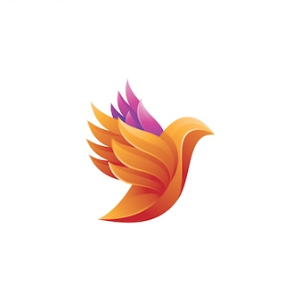 Colorful bird wing feather logo icon