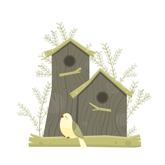 Colorful   birdhouses, cute birds and nests illustrations, hand drawn isolated