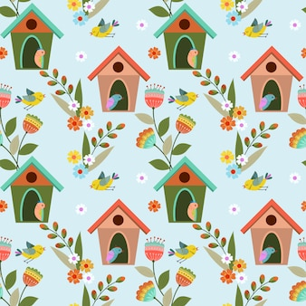 Colorful birds and birdhouses seamless pattern.