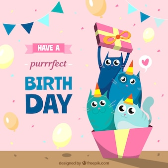 Colorful Birthday Background With Flat Deisng