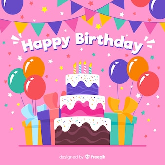 Colorful birthday background with gifts and cake
