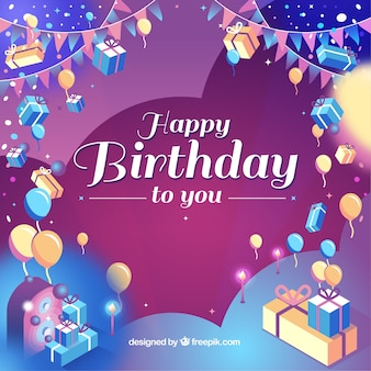 Colorful birthday background with realistic style
