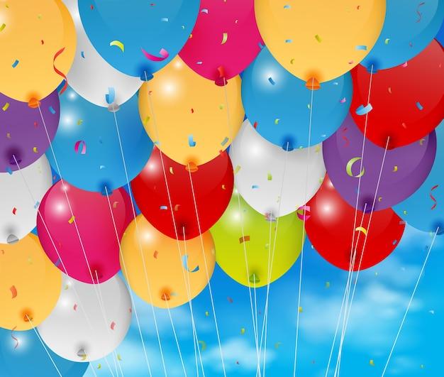 Colorful birthday balloon on blue sky