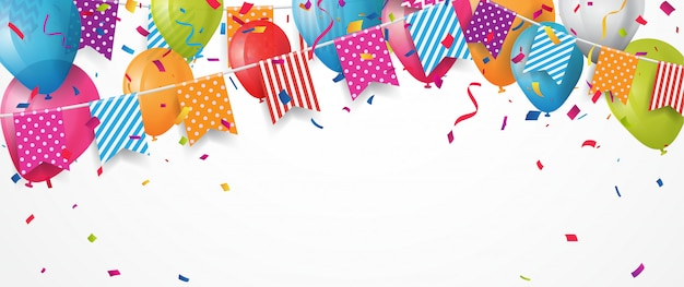 Colorful birthday balloon with bunting flags and confetti background