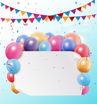 Colorful birthday bunting flags and balloons with space for your text