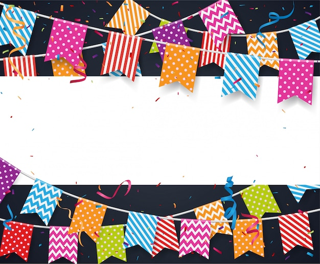 Colorful birthday bunting flags and confetti background