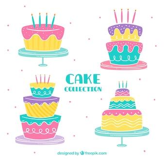 Colorful birthday cakes