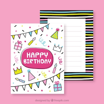 Colorful birthday card in hand drawn style