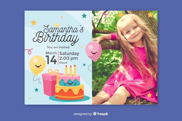 Colorful birthday card invitation template