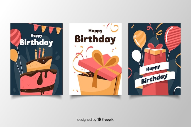 Colorful birthday card pack in flat design