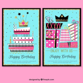 Colorful birthday cards with cake and gifts