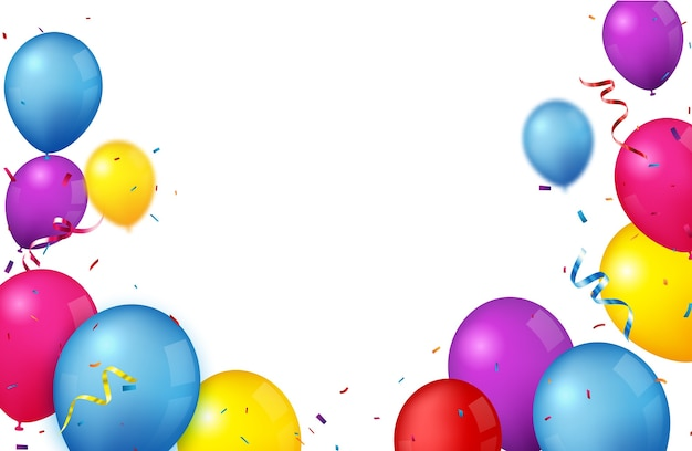 Colorful birthday celebration background with balloons
