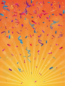 Colorful birthday celebration background with bunting flags and confetti