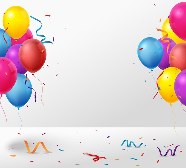 Colorful birthday celebration banner with balloons