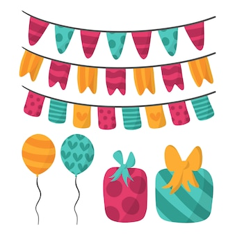 Colorful birthday decoration with presents