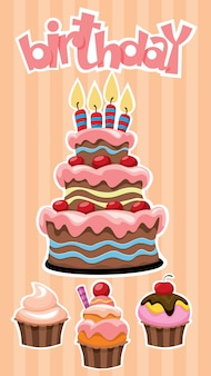 Colorful birthday desserts banner template with festive cake and cupcakes stickers on striped