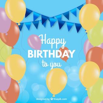 Cartolina d'auguri colorata di compleanno