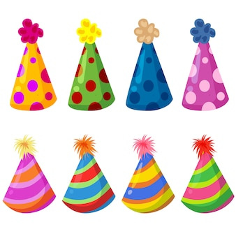 Colorful birthday hat party element set