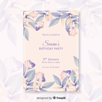 Colorful birthday invitation with flowers template