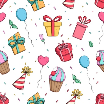 Colorful birthday party decoration in seamless pattern with doodle style