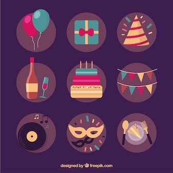 Colorful birthday party elements Free Vector