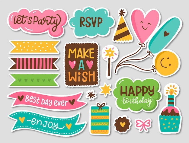 Colorful birthday scrapbook set