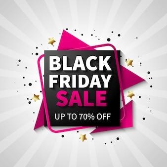 Красочный дизайн баннер продажи черная пятница, черный и розовый цвет