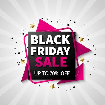 Colorful black friday sale banner design, black and pink color Free Vector