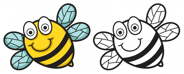 Colorful and black and white bee for coloring book