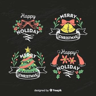 カラフルな黒板のクリスマスバッジ