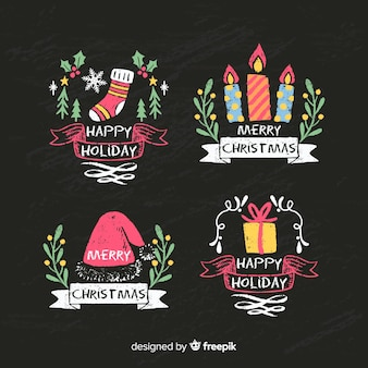 Colorful blackboard christmas badges