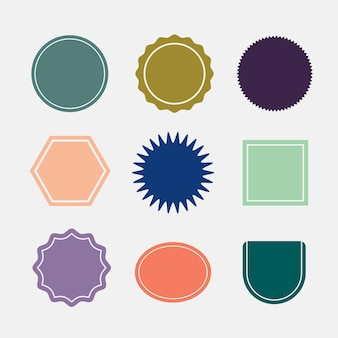 Colorful blank badges set vector in retro style